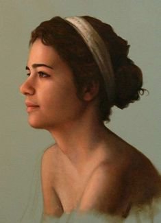 Cesar Santos (b. 1982), oil on linen {figurative art female profile woman face portrait painting #loveart} santocesar.com