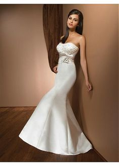 ELEGANT EXQUISITE CHARM SATIN STRAPLESS MERMAID WEDDING DRESS LACE BRIDESMAID PARTY COCKTAIL EVENING GOWN IVORY WHITE