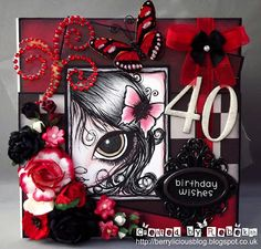 Black with 2 new challenge! Birthday Wishes, Birthday Cards, Dilly Beans, Cute Images, Cute Cards, Projects To Try, Card Making, My Arts, Greeting Cards