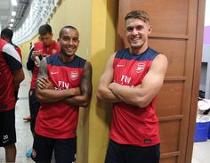 Theo Walcott, Aaron Ramsey and the whole squad before open training session at Gelora Bung Karno Stadium, Jakarta, Indonesia, Arsenal Asia Tour 2013 (13 July 2013) by Stuart MacFarlane