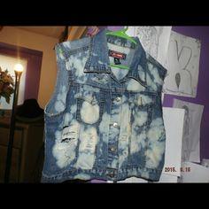 Customized  Denim Vest Customized  Denim  Distressed , bleached  vest Jean jacket Jackets & Coats