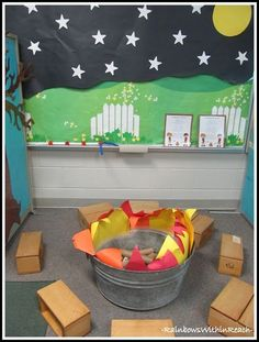 Camping learning center with fire pit for Henry and Mudge and the Starry Night. How fun! Would love to have the kids create the set, though.