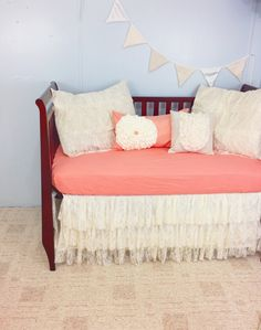 Lace Baby Crib Bedding - Salmon Pink and Ivory - Ruffled Tiered Lace Crib Skirt - Cotton Crib Sheet - 4 Pillow Shams on Etsy, $390.00