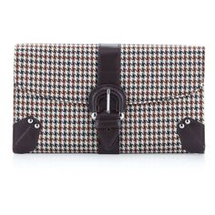 Rowallan Of Scotland Greta Houndstooth Clutch, Brown ($32) ❤ liked on Polyvore
