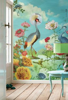 Nieuwste Pip Studio Behang - Pip Studio Behangboek 3 is Uit! Kleurrijk Bloemen Behang: Kiss The Frog MEER Behang… (Foto Pip Studio Wallpaper Collection op DroomHome.