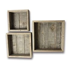 Reclaimed Wood Shadow Box with Wood Backing - Rustic Farmhouse Barn Wood Style - Floating Shelves - Set of 3 Weathered Gray Farm House Box Frames Barn Wood Decor, Barn Wood Projects, Rustic Wood Walls, Old Barn Wood, Reclaimed Wood Projects, Cool Woodworking Projects, Wood Wood, Diy Wood, Barn Wood Frames