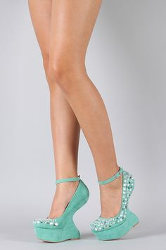 5ec0bd02eef Mint Faux Suede Heel Less wedge