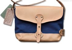 The Superior Labor Paint Small Shoulder bag Ltd. navy canvas, leather bottom.