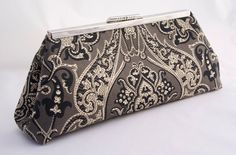 Downton Abbey Dowager Formal Clutch Handbag in Black Charcoal and Cream Satin Lined Gift for Loved one or Wedding Party Gift on Etsy, $48.00