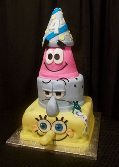 Spongebob cake @Kathy Rhoads Oltmanns Land I wish I would have seen this before I would of had you make this for ethan's bday! He loves the bob