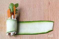 "For the Love of Food: Raw Zucchini ""Sushi"" Rolls  - I would make these with Cucumber instead : )"