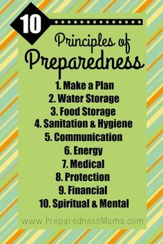 It's your self-reliant foundation. The 10 Principles of Preparedness. Survival Food, Outdoor Survival, Survival Prepping, Survival Skills, Survival Shelter, Survival Quotes, Survival Stuff, Survival Equipment, Homestead Survival