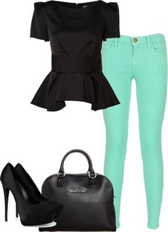 A fashion look from January 2013 featuring short-sleeve shirt, green skinny jeans and high heel pumps. Browse and shop related looks. Cute Fashion, Fashion Beauty, Fashion Outfits, Womens Fashion, Fashion Trends, Vogue, Classy Casual, Cute Outfits, Mint Outfits