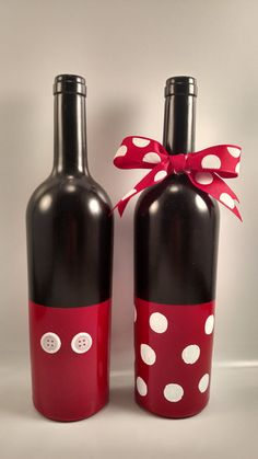 Hand painted Minnie and Mickey mouse decorative wine bottles. Perfect for every Disney lover.