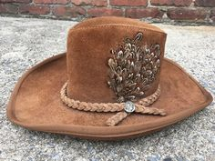 2444465d10da7 Hats · Henschel ST. LOUIS Leather Suede Western Hat braided band Indian  Coin Feathers  fashion