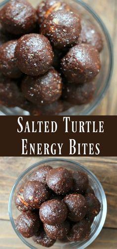 Healthy Salted Turtle Energy Bite recipe. No-bake energy ball recipe