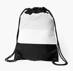 'Marble White Black' Drawstring Bag by artbyjwp from redbubble #bag #drawstringbag #backpack #redbubble #artbyjwp #marble #blackandwhite ---  Minimal photo collage of marble texture and bold black and white colors in stripes. • Also buy this artwork on bags, apparel, stickers, and more.