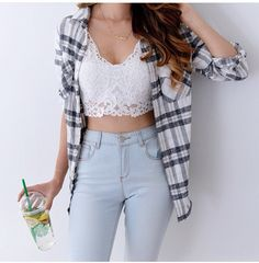 Best How To Wear Bralette Outfit Casual Shirts 39 Ideas Crop Top Outfits, Girly Outfits, Cute Casual Outfits, Pretty Outfits, Stylish Outfits, Fashion Outfits, Plaid Fashion, Fashion Hair, Fashion Clothes