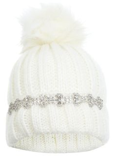 Winter white knitted beanie hat with jewel embellished turn up band and a faux fur pom pom. Pom Pom Beanie Hat, Beanie Hats, White Beanies, Winter Warmers, Polyvore Outfits, Polyvore Fashion, Caps Hats, Miss Selfridge, Knitted Hats
