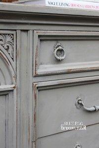 blue egg brown nest:    French linen paint.