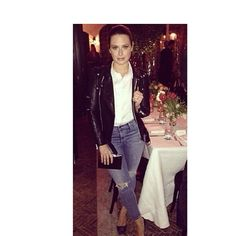 """Love this!  The beautiful Katie Lowes of """"Scandal"""" with Jill Milan's Art Deco and jeans at a """"Vogue"""" party. You can see more about the Art Deco at http://jillmilan.com/bags/clutches Jill Milan Accessories @jill_milan Instagram photos 