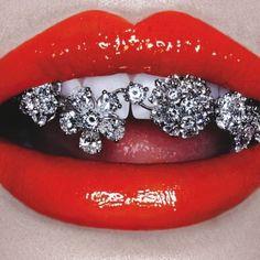 #lips #diamonds #sparkle #red #teeth