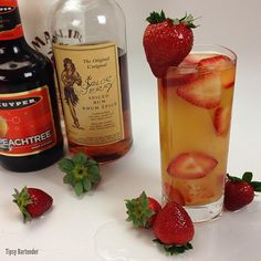 THE LEG SPREADER ~ 1 oz. (30ml) Spiced Rum, 1 oz. (30ml) Coconut Rum, 1 oz. (30ml) Peach Schnapps, Top with Pineapple Juice