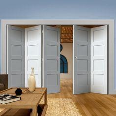 Thrufold Shaker 4 Panel 3+2 Folding Door - White Primed  - Lifestyle Image - #living #traditional #doors