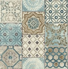 NextWall Moroccan Style Peel and Stick Mosaic Tile Wallpaper. (Blue, Copper & Grey) - - Amazon.com