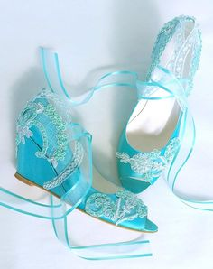 beach wedding shoes Whimsical beach wedding wedge shoes in teal. Aqua Wedding Shoes, Lace Bridal Shoes, Wedding Wedges, Wedge Wedding Shoes, Wedding Boots, Wedge Shoes, Wedding Dresses, Lace Wedding, Lace Wedges