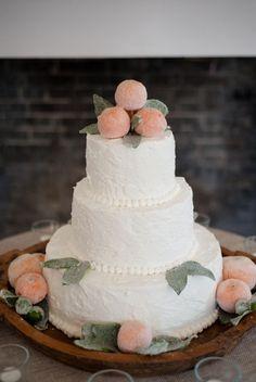 Adorable Georgia peach wedding cake.