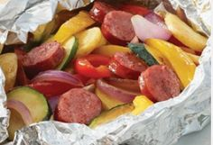 sausage, peppers, onions, zucchini, squash, olive oil, salt. wrap in foil for 20 min until cooked