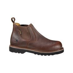 "Men's Carhartt CMS4200 4"" Safety Toe Romeo Boot Casual ($110) ❤ liked on Polyvore featuring men's fashion, men's shoes, men's boots, men's work boots, brown, casual, safety shoes, mens slip on boots, mens brown work boots and mens boots"