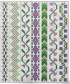 Czech cross stitch pattern - Předlohy na vyšívání Cross Stitch Boarders, Cross Stitch Bookmarks, Mini Cross Stitch, Cross Stitch Flowers, Cross Stitch Charts, Cross Stitch Designs, Cross Stitching, Cross Stitch Embroidery, Embroidery Patterns