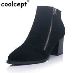 48.98$  Watch now - Women Square Heel Real Leather Ankle Boots Woman Sexy Pointed Toe Short Boot Stylish Zipper Heeled Shoes Size 34-40  #aliexpress