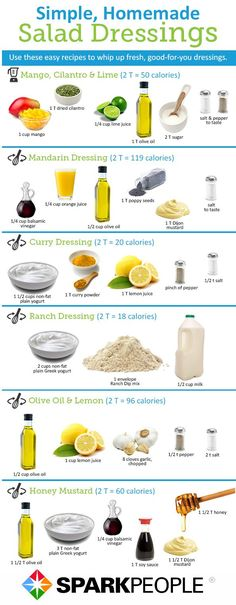 Healthy Homemade Salad Dressings: click for nutrition facts | via @SparkPeople #food #recipe #DIY - top dish...