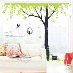 My dream garden tree love birds grass----Removable Graphic Art wall decals stickers home decor