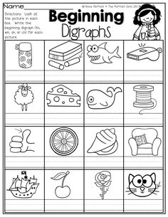 Beginning Digraphs!  Write the beginning digraphs for each picture (th, wh, sh or ch)