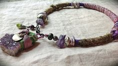 Bohemian amethyst silk and bead choker necklace by quisnam on Etsy, $60.00