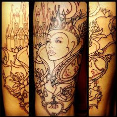 """""""My evil queen tattoo, I have Snow White on my other thigh :)""""  done by austinxxxfk.tumblr.com"""
