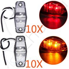 20 Amber/Red 2 Diode LED Clearance Light RV Trailer Side Marker Clear Lens Lamps