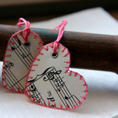 Music paper embellished gift tags--loving the heart shape