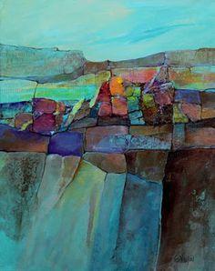 "CAROL NELSON FINE ART BLOG: Mixed media abstract landscape, ""Calico Vista"" © Carol Nelson Fine Art"