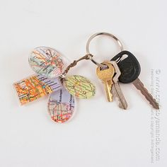 Birthplace Map Keychain Charms
