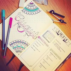 Sorry for the resubmission, but the last upload was so pixelated!  This is my #August spread with my #monthlyview with my first #mandalas!  #bulletjournal #bujo #bulletjournaljunkies
