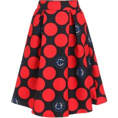 Polka Dot Red Skirt ($16) ❤ liked on Polyvore featuring skirts, red, flare skirt, red polka dot skirt, flared skirt, red skirt and red dot skirt