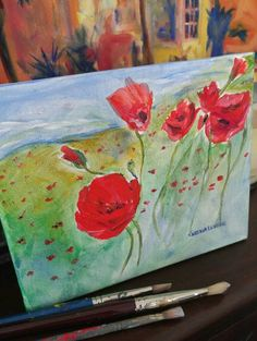 Poppies painting red flowers  picture small wall by CerenaLevene