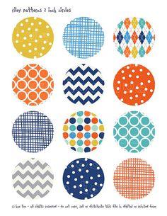 cercles de 2 pouces garçons digital collage feuille orange
