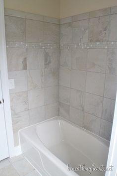 tub refinishing kit from Lowes - blue tub to white, brilliant Tan Bathroom, Diy Bathroom Decor, Budget Bathroom, Bathroom Renovations, Small Bathroom, Bathroom Ideas, Bath Ideas, Master Bathroom, Tub Shower Combo