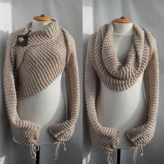 Scarf shawl with sleeves at both ends in beige. FREE worldwide shipping